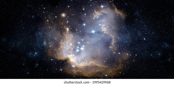 A view from space to a galaxy and stars. Universe filled with stars, nebula and galaxy,. Panoramic shot, wide format. Elements of this image furnished by NASA. - Shutterstock ID 1995429968