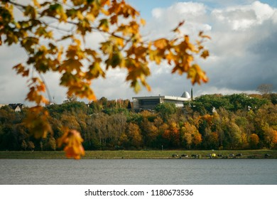 View of the space Museum in Kaluga from the other side of the reservoir in autumn