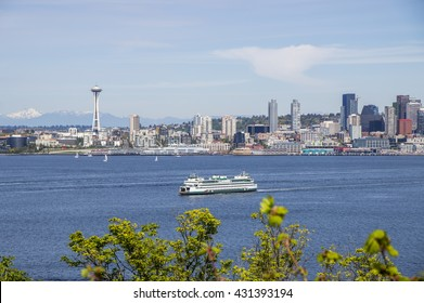 View of the Space Needle in Seattle downtown from across the Puget Sound