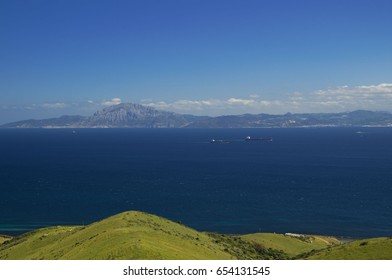 View from Spain (park Estrecho) to Africa (Morocco) over Strait of Gibraltar