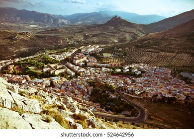 Up view of spanish city of Jaen, wide landscape of hauses and olive fields