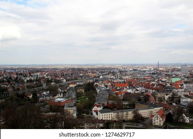 view from the sparrenburg on the city bielefeld germany photographed during a sightseeing tour at a sunny day