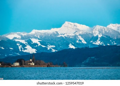 View of the Speer peak (1,951 m) in the Appenzell Alps, overlooking Lake Zurich and Lake Walenstadt in the canton of St. Gallen. View from the upper Zurich Lake (Obersee), Switzerland