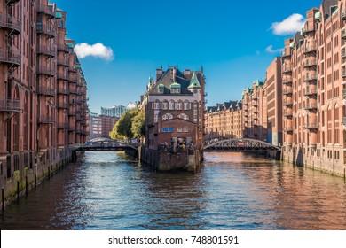 View of the Speicherstadt in Hamburg during mid day, Hamburg, Germany