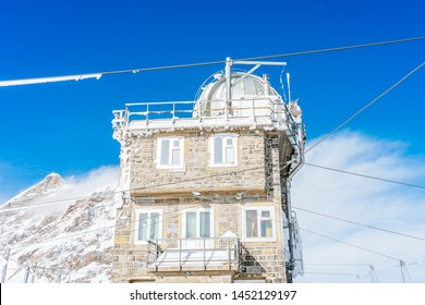 View of the Sphinx Observatory on Jungfraujoch, one of the highest observatories in the world located at the Jungfrau railway station, Bernese Oberland, Switzerland.