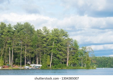 A view of Spider Lake with numerous trees in Traverse City, Michigan, United States.