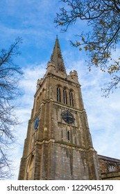 A view of the spire of the magnificent St. Peter and St. Pauls Church in the town of Kettering in Northamptonshire, UK.