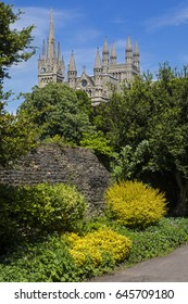 A view of the spires and towers of the magnificent Peterborough Cathedral in the historic city of Peterborough in Cambridgeshire, in the UK.