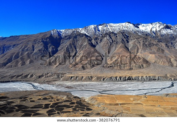 a view of the spiti valley, in himachal pradesh india.