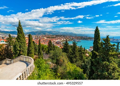 View of Split from Marjan Hill on a sunny day