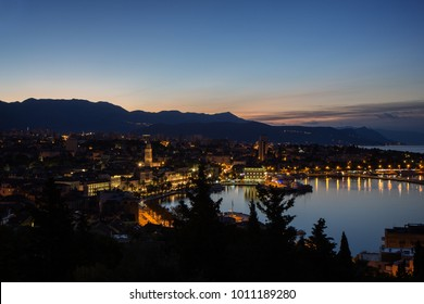View of Split's historic Old Town and beyond from above in Croatia at dawn. Copy space.
