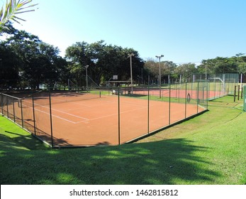 View of the sports field in the municipality Santo Inácio, Paraná, Brazil, 2013.
