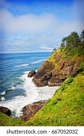 A view from the spot of the North Head Lighthouse in Cape Disappointment State Park in Washington, USA.  The North Head lighthouse was built to compliment the nearby Cape Disappointment lighthouse.