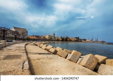 view at spring Bari sea coast near Swabian castle ,  Apulia, Italy