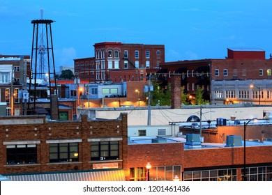 view of Springfield Missouri down town in the evening