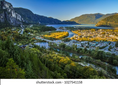 View of Squamish town in British Columbia, Canada