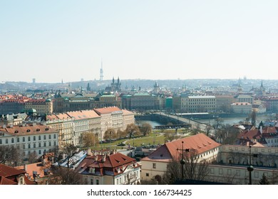 View to the square of Jan Palach and the bridge of Manes from the Prague Castle. Prague, Czech Republic