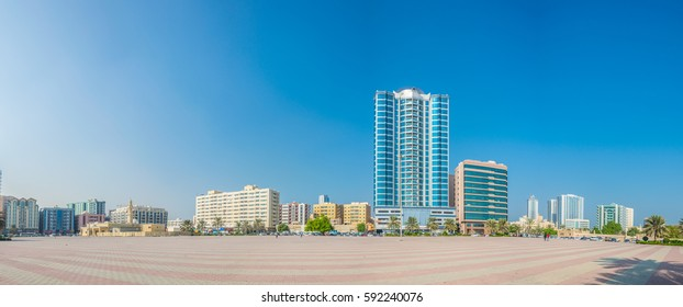 View of a square next to the central bus stop in the emirate Ajman, UAE