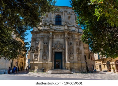 A view from the Square of Saint Chiara towards the church of Saint Chiara in Leece, Italy