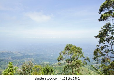 View of Sri Lankan hills on a bright, sunny day, from popular tea plantation destination, Lipton's Seat.
