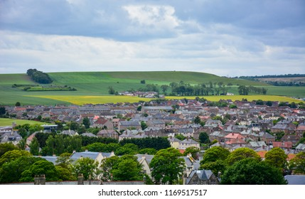 View of St Andrews, Fife, Scotland, from St Rule's tower, with hills in the background. St Andrews is a small Scottish town that is a home for one of the best British universities