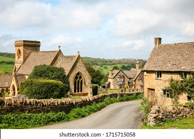 View of St Barnabas Church and the Picturesque Cotswold village of Snowshill. Snowshill,Gloucestershire, Cotswolds, England,April 24th 2014