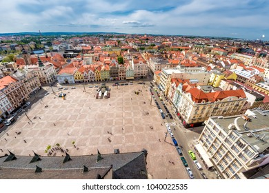 View from St Bartholomew's Cathedral over Republic Square. Pilsen (Plzen), Czech Republic.