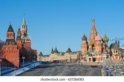 View of St. Basil's Cathedral, Moscow Kremlin and Red Square