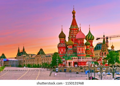 View of St. Basil's Cathedral on the Red Square at sunrise in Moscow.