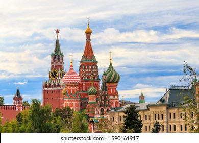 View of St. Basil's Cathedral and Spasskaya tower of Kremlin on Red Square in Moscow, Russia