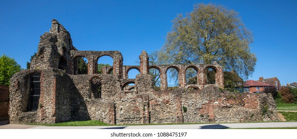 A view of St. Botolphs Priory in the historic market town of Colchester in Essex, UK.  The priory was a medieval Augustinian religious covent.