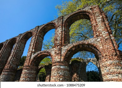 A view of St. Botolphs Priory in the historic market town of Colchester in Essex, UK.  The priory was a medieval Augustinian religious house.