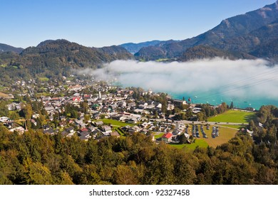view of St. Gilgen, Wolfgangsee and mountains in Austria