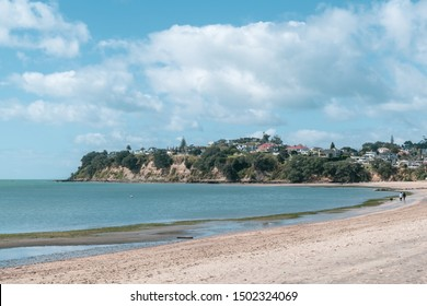 View of St Heliers Bay with waterfront houses in background