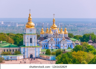 View of St. Michael's Golden-Domed Monastery from the Bell Tower of  Saint Sophia Cathedral. Kiev. Ukraine