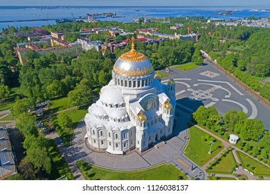 View of the St. Nicholas Naval Cathedral on a sunny May afternoon. Kronstadt, Russia