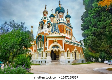 View of St. Nicholas Orthodox Cathedral in Nice. France
