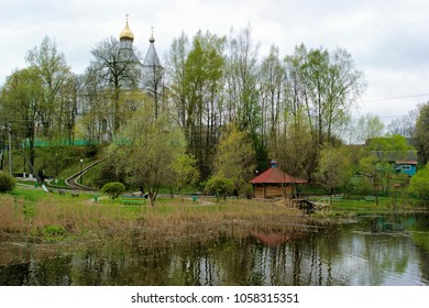 View of St. Nikolai Orthodox Church and Holy spring near it, Lahoysk, Belarus