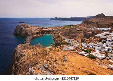 View of St Pauls Bayby Lindos village. Rhodes, Greece.