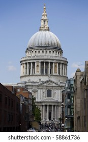 View of St Pauls Cathedral from end of Millennium Bridge, London, England