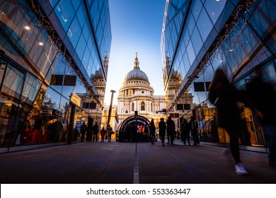 View of St. Paul's Cathedral from One New Change Mall with Shoppers