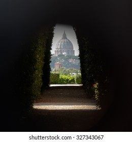 View of St Peter's Basilica as seen through the Aventine Keyhole, Rome