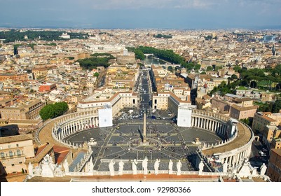 View of St Peter's Square, from the top of St. Peter's Basilica in Rome.