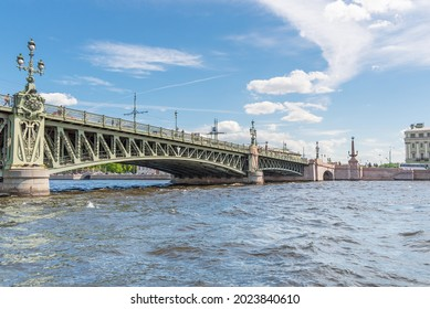 View of St. Petersburg from the Neva River from under the bridge