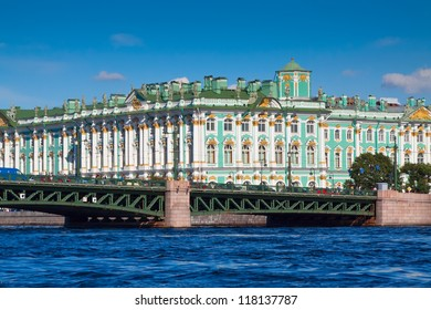 View of St. Petersburg. Winter Palace from Neva River in sunny day