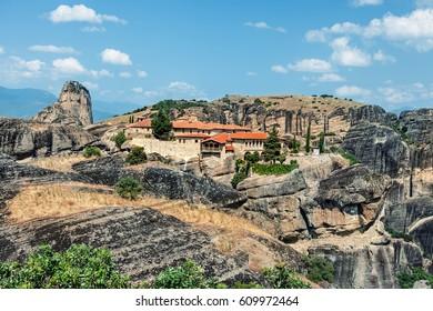 View of  St Stephen Monastery (Agios Stefanos).  Meteora monasteries, Greece.