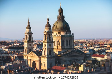 View of St. Stephen's Basilica, a Roman Catholic basilica in Budapest, Hungary, summer sunny day