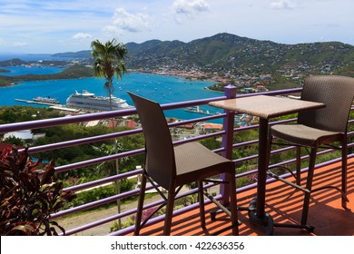 view at St. Thomas harbor from the bar place on Paradise Point
