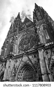 View of St. Vitus Cathedral in black and white colors. Prague, Czech Republic.