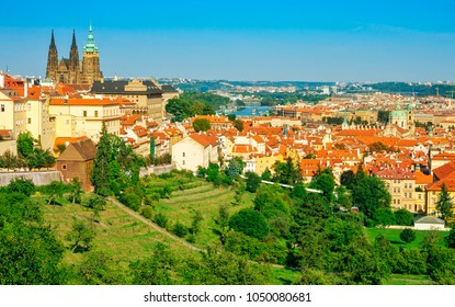 View of the St. Vitus Cathedral and Prague Panoramic view of Prague with Prague Castle